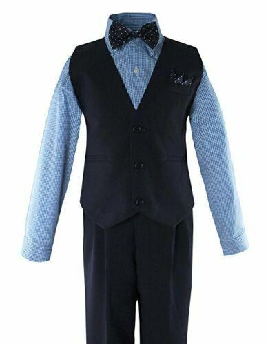 Formal Big Boys Solid Vest Set Dress Shirt Tie Pants Wedding Suit Outfit sz 5-20