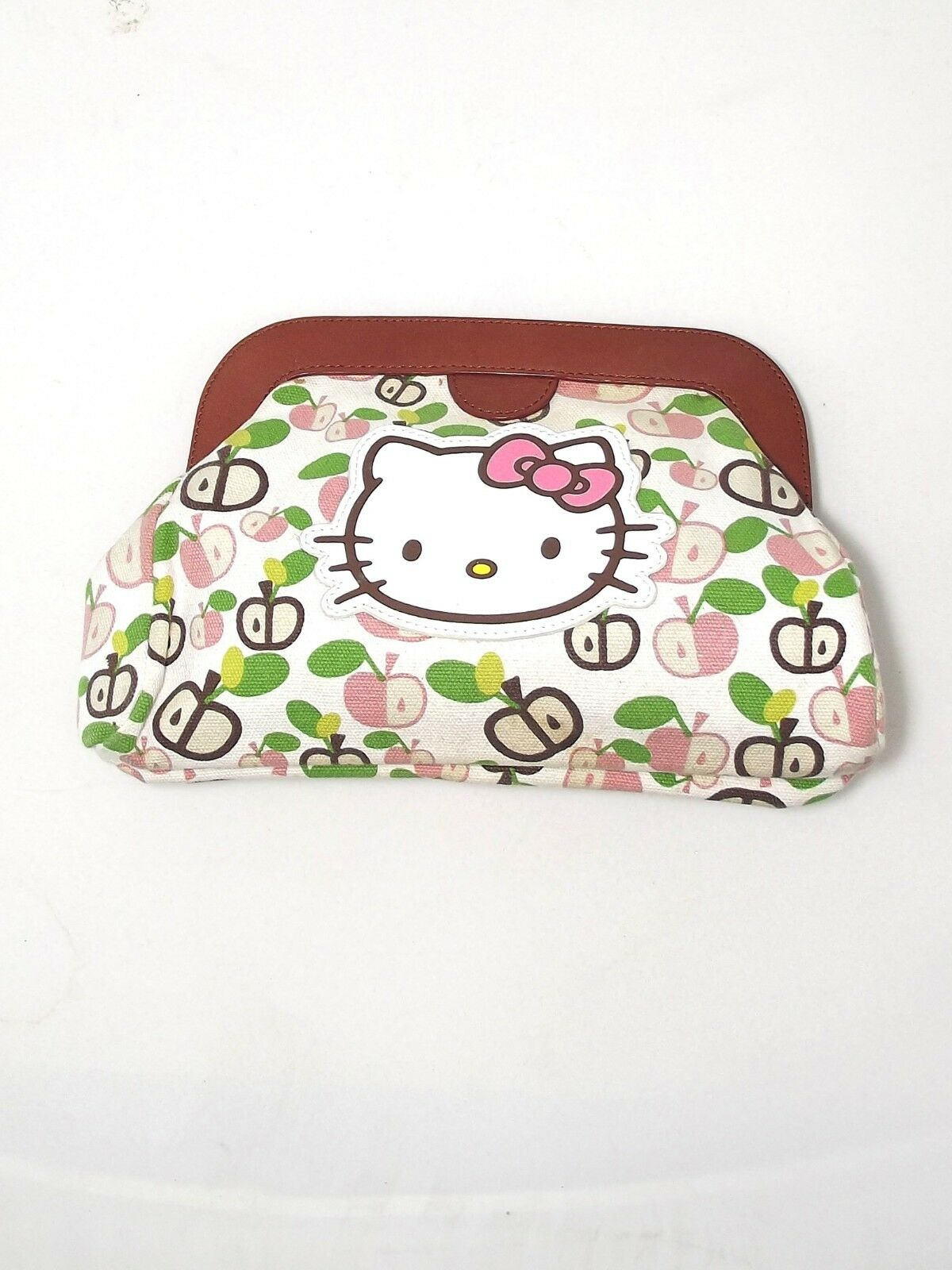 Hello Kitty by Victoria Couture Clutch Hand Bag Leather White Fabric