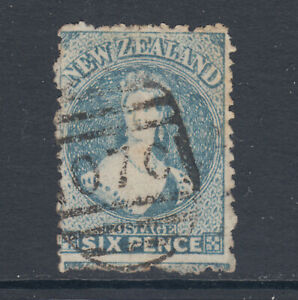 New-Zealand-Sc-41-SG-135-used-1873-6p-blue-QV-grid-cancel-sound-Cert