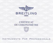BREITLING CROSSWIND CERTIFICAT DE CHRONOMÉTRE CERTIFICAT CHRONOMETER 1997 I169