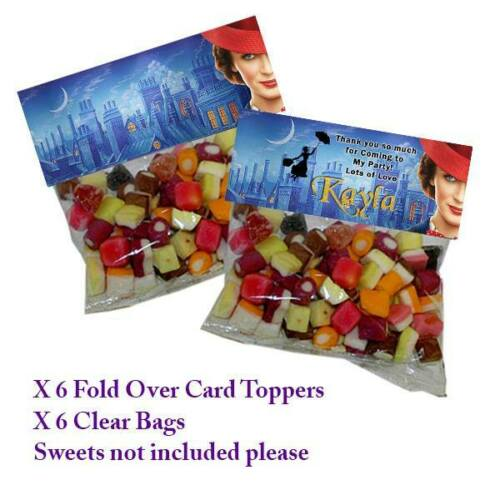 6 MARY POPPINS PERSONALISED FOLD OVER CARD /& CLEAR BAG BIRTHDAY PARTY FAVOURS