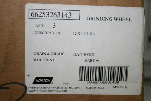 NIB NORTON 12 X 1-1//2 X 3 GRINDING WHEEL #66253263143