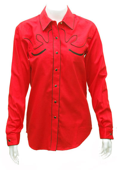 NEW  WOMEN'S Retro Western Show Shirt RED Size XL