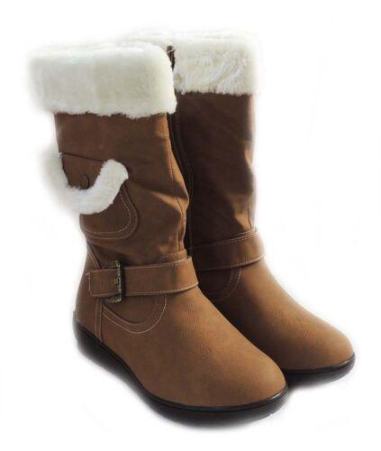 NEW WOMEN MID-CALF FUR LINED FLAT HEEL WINTER SNOW BOOTS COCO-03 //CAMEL