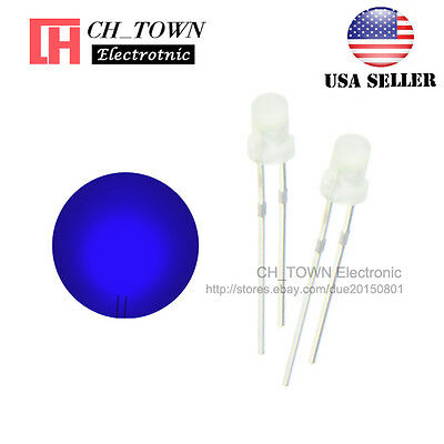 100pcs 1.8mm Diffused White Color Blue Light Round Top LED Emitting Diodes USA