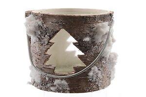Vento luce corteccia con inserto in vetro innevamento Tannenbaum Natale Inverno H 9 cm  </span>