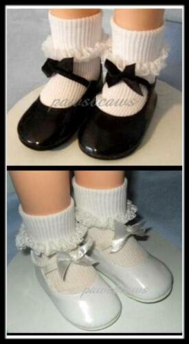 SAVE 15/% on 2 pair Patent 3.5 x 1.5 inch Doll BOW SHOES fit CHATTY CATHY