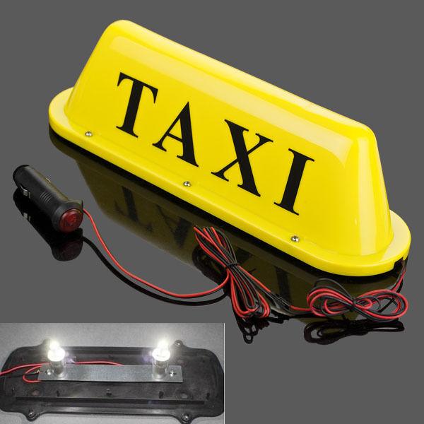 "10 LED Taxi Cab Sign Roof Top Topper Car Super Bright Light Lamp 12V Blue 14"""
