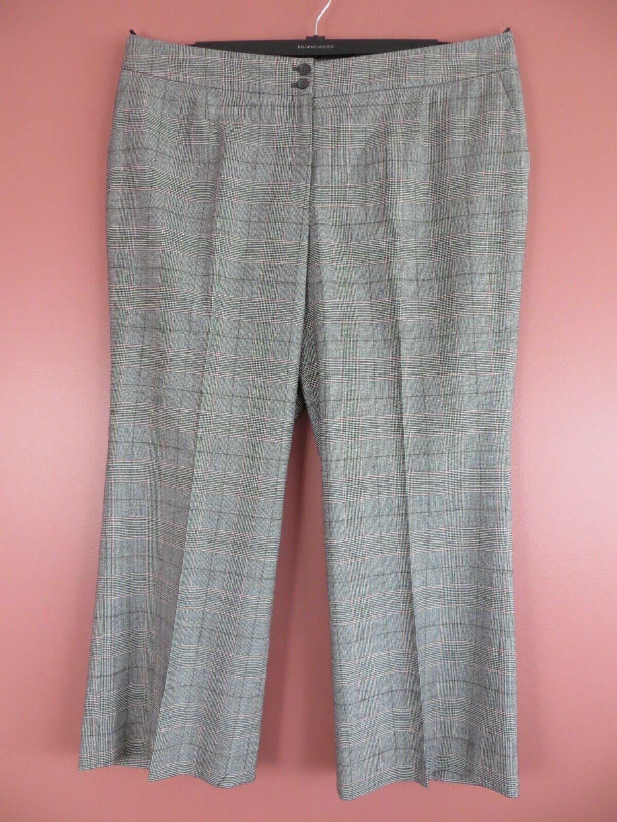 PNS1221- TALBOTS Womens 40% Wool Heritage Wide Leg Pants Multi-color Geo Sz 18W