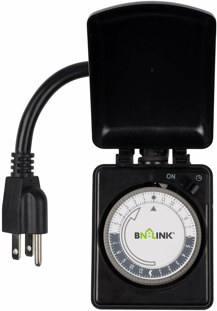 BN-LINK Outdoor Mechanical Plug in Outlet Timer -Heavy Duty 24 Hr Dual Outlet