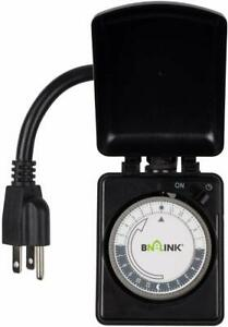 BN-LINK-Outdoor-Mechanical-Plug-in-Outlet-Timer-Heavy-Duty-24-Hr-Dual-Outlet