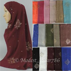 Premium-Quality-Chiffon-Gold-Rhinestones-Hijab-Shawl-Scarf-Muslim-Headcover