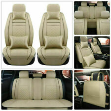 11pc For Toyota Camry Prius Corolla RAV4 PU Leather Seat Covers Front+Rear Beige