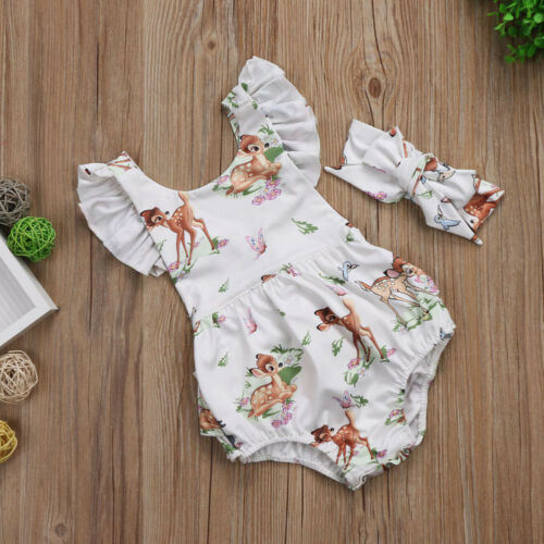 Toddler Baby Girl Ruffle Deer Bambi Romper Bodysuit Headband 2PCS Clothes Outfit
