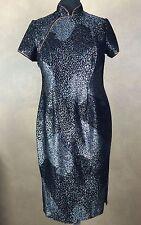 Top Lady Fashion Asian Inspired Mandrin Neckline Black Metalic Gisha Girl Dress