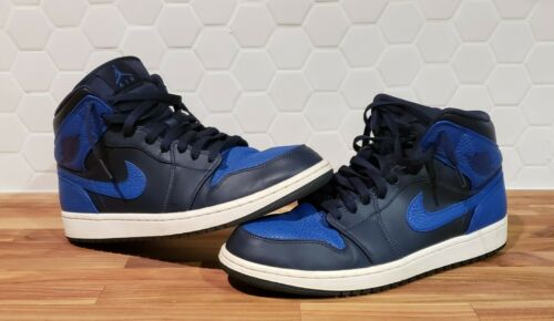 Nike Air Jordan 1 Mid Obsidian Game Royal Size 12