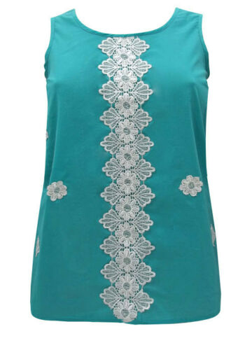 EX Evans Turquoise Embroidered Lace Detail Sleeveless Top 14 16 18 20 22 24 26