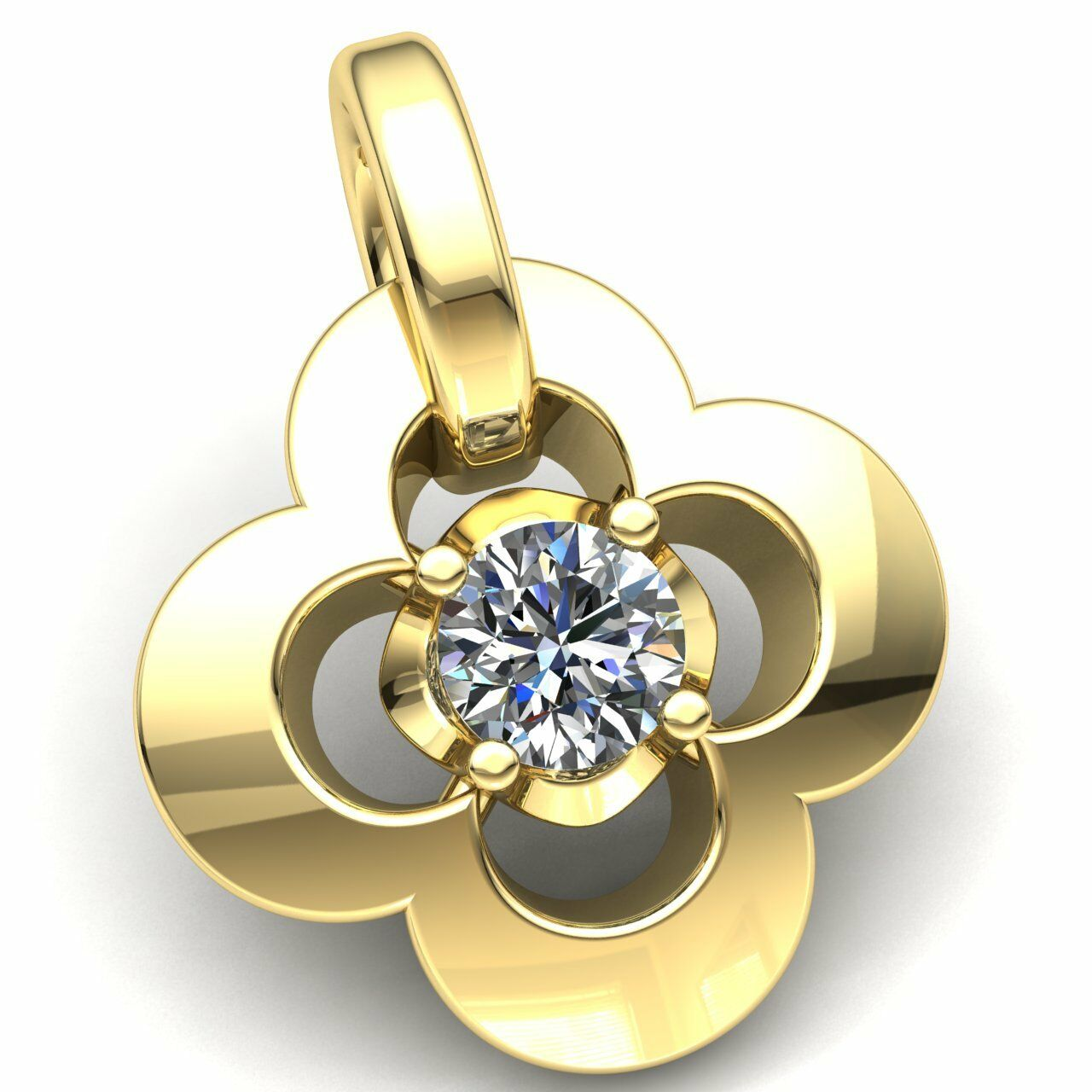0.1ctw Round Cut Diamond Ladies Fancy Flower Solitaire Pendant 10K gold