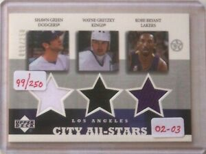 2002-03-UD-Superstars-Gretzky-Bryant-Green-Jersey-Card-d-99-250