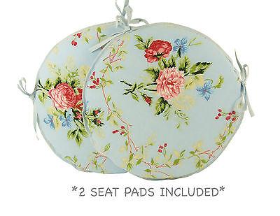 """Set of 2 English Rose Blue Bistro/Bar/circular/Round/patio seat pads 12"""" 14"""" 16"""""""
