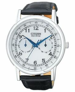 Citizen-Eco-Drive-Men-039-s-White-Dial-Black-Leather-Band-42mm-Watch-AO9000-06B