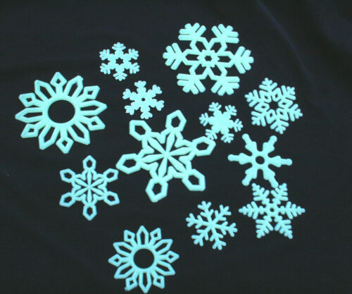 GLOW IN THE DARK SELF ADHESIVE YELLOW SNOWFLAKES KIDS ROOM CEILING STICKERS