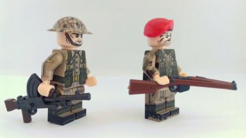 2 minifigures ww2 british Paratrooper soldier enfield bren compatibile lego ww2