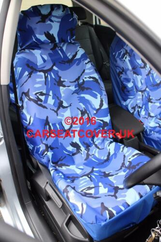 Honda Jazz Blue Camouflage Waterproof Car Seat Covers 2 x Fronts 2011-