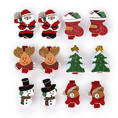 12x Christmas Wooden Pegs Clips Clothpins Xmas Tree Card Holder Craft Decoration