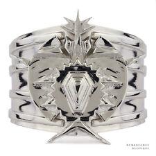 Eddie Borgo Silver Tone Metal Heavy Duty Spiked Cuff Manchette Bracelet