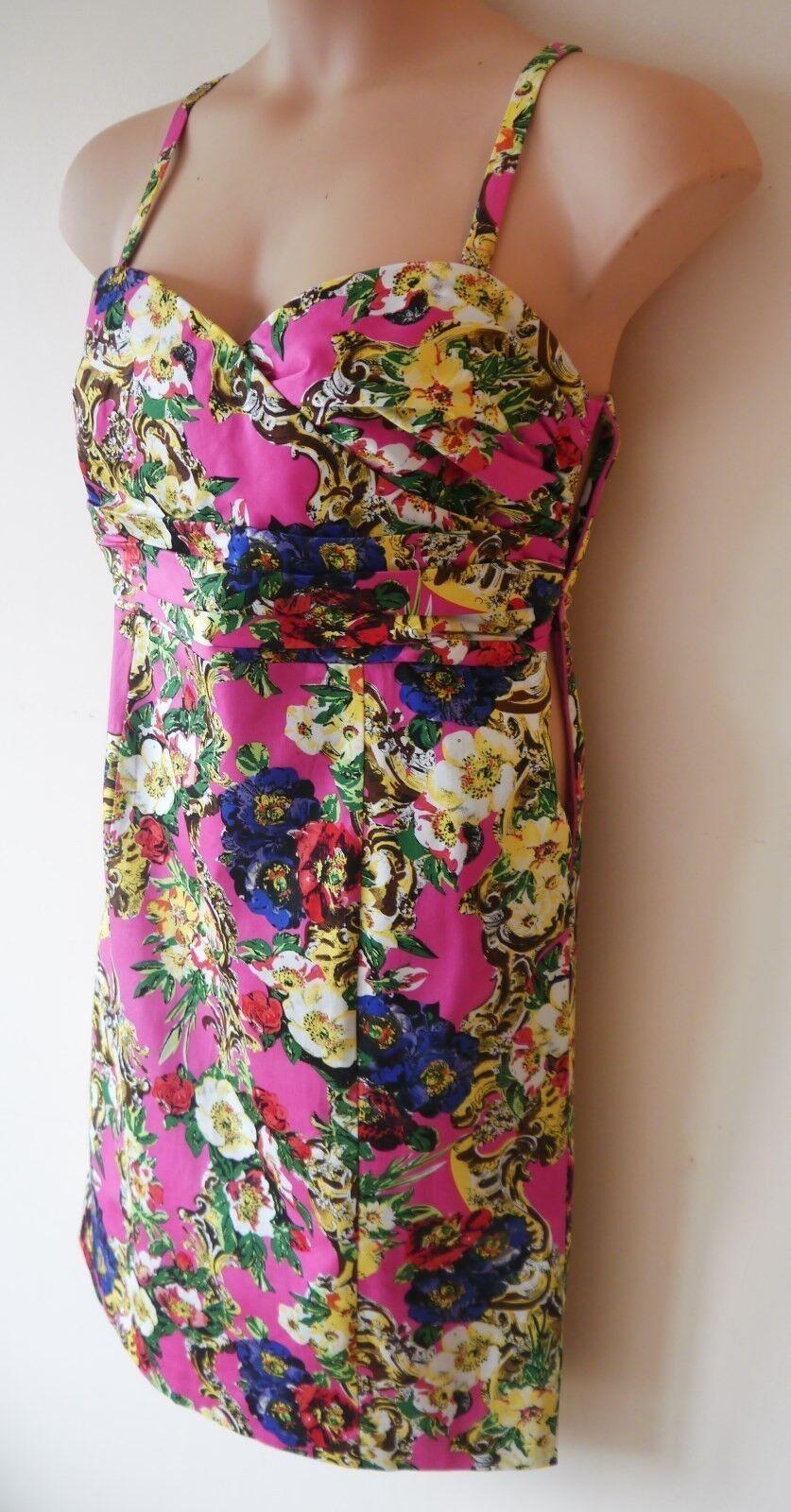 Femme Ajusté Robe Bustier Taille 16 16 Taille FeMmE Rose Multi Imprimé Floral Coton MX 2nd 5a6acd