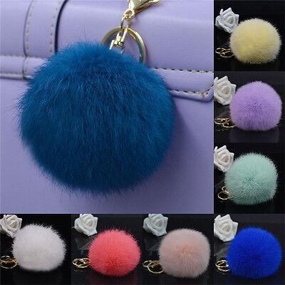 Rabbit Fur Ball Pompom Cell Phone Car Keychain Pendant Handbag Cute