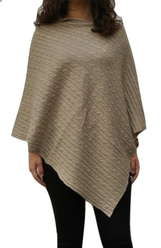 Handcrafted In Nepal 100/% Pure Cashmere Cable knit Poncho In Oatmeal Beige