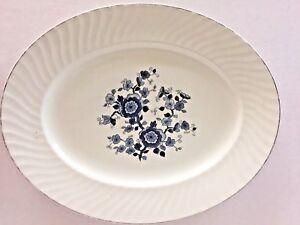 Royal-Blue-Ironstone-Enoch-Platter-Oval-Wedgwood-Tunstall-England-Silver-Trim