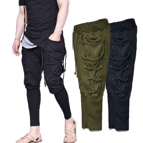 Mens Long Hip Hop Harem Casual Trousers Loose Elastic Waist Pencil Pants Slim