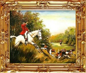 Painting-Oil-Frame-Baroque-Pictures-Hunting-G02267