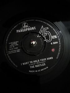 The-Beatles-I-Want-To-Hold-Your-Hand-Vinyl-7-034-UK-1st-Press-Single-R-5084-1963