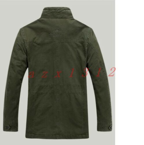 New Mens Slim Fit Zipper Army Green Cargo Casual Stand Collar Coat Jacket Blazer
