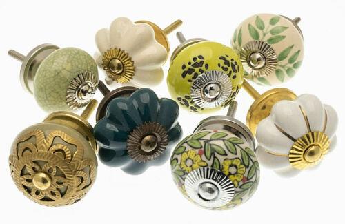 Céramique Poignées de porte Vert /& Crème Armoire Boutons Cabinet Knobs-Lot de 8