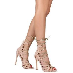 91ebb1fd49 Liliana Nude Gold Suede Lace up Open toe Stiletto Heels Women's ...