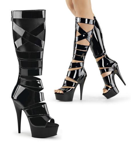 "PLEASER DELIGHT-600-49 Black 6/"" Heel Platform Gladiator Sandal Women Knee Boots"