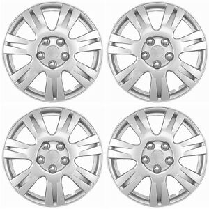 4 Pc Set of 15 Inch Silver Hub Caps Full Lug Skin Rim Cover for OEM Steel Wheel