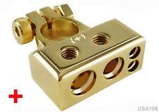us seller NEW GOLD POSITIVE BATTERY TERMINAL CONNECTOR 0-4-8 GAUGE AWG P+ 12VOLT