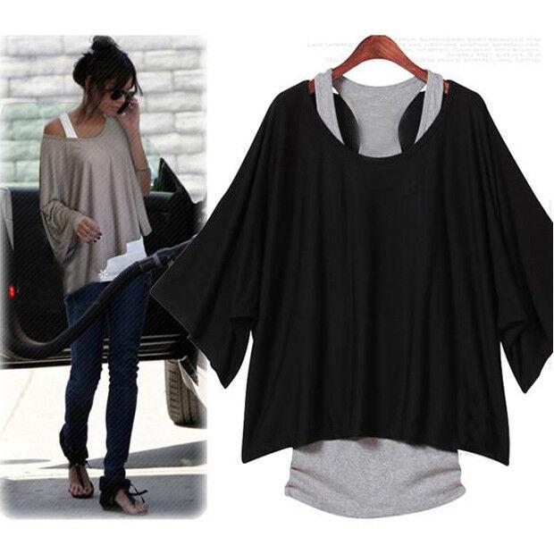 Fashion Women's Batwing Blouse Casual Loose Tops T-shirt +Tank Vest  Plus Size
