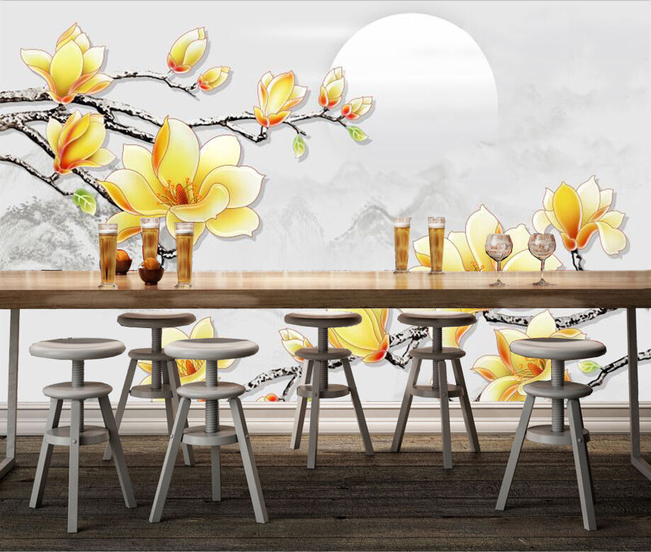 3D Gelb Fiore 4 Parete Murale Foto Carta da parati immagine sfondo muro stampa