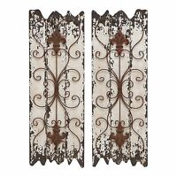 Wood Wall Decor Set Rustic Panel Furniture Metal Art Accent Distressed 2 Pair