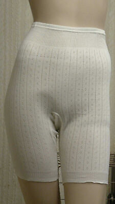 Details about  /Slenderella VUW808 Vedonis White Cotton Thermal Knit Long Pantee Short