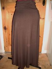 BNWT MATERNITY Ladies Pretty Chocolate Brown Roll Top Longer Length Skirt 12