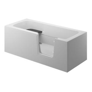 Badewanne für Senioren Tür rechts und integrierter abnehmbarer Sitzbank 180 cm