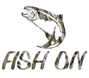"8/"" Camouflage fish on fisherman walleye fishing sticker camo print harness decal"